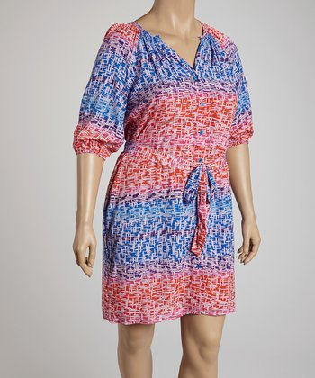 Blue & Red Three-Quarter Sleeve Shirt Dress - Plus
