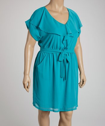 Turquoise Ruffle V-Neck Dress - Plus
