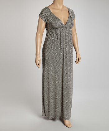 Black & Gray Surplice Maxi Dress - Plus