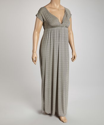 Taupe & Gray Surplice Maxi Dress - Plus