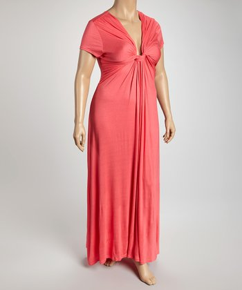 Coral V-Neck Maxi Dress - Plus