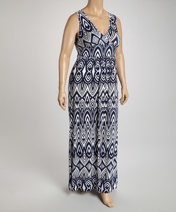 Navy & White Sleeveless Surplice Maxi Dress - Plus