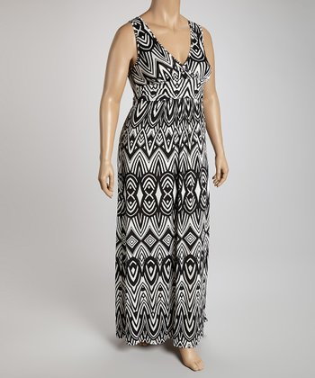 Black & White Sleeveless Surplice Maxi Dress - Plus