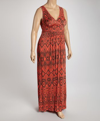 Rust & Black Sleeveless Surplice Maxi Dress - Plus