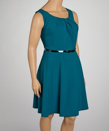 Peacock Belted Sleeveless Dress - Plus