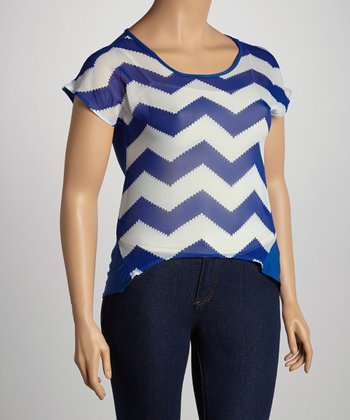 Royal Blue Zigzag Dolman Top - Plus