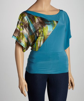 Turquoise Crosshatch Drape Top - Plus