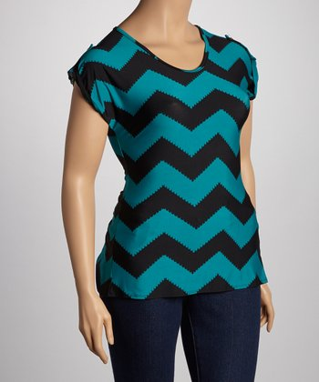 Teal Zigzag Split Back Short-Sleeve Top - Plus