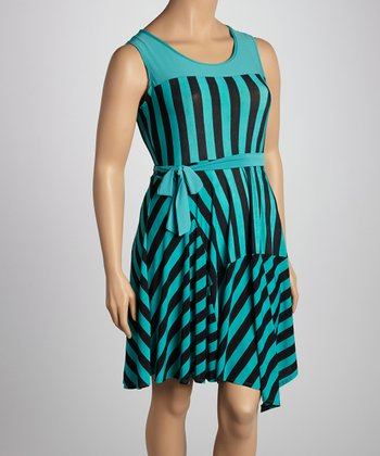 Teal & Black Stripe Sleeveless Dress - Plus