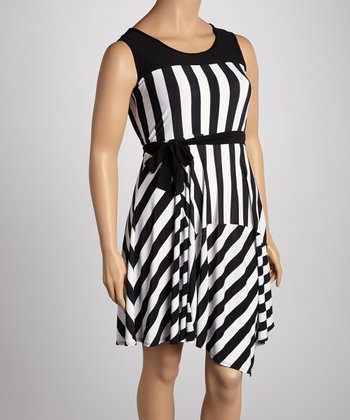 Black & White Stripe Sleeveless Dress - Plus
