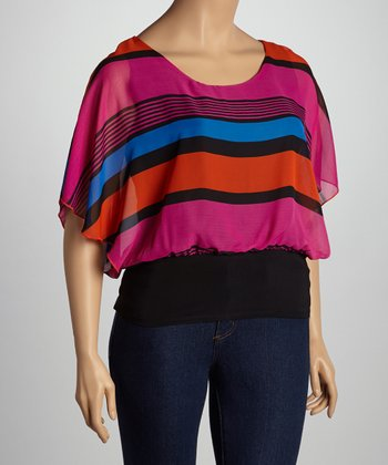 Fuchsia Stripe Cape-Sleeve Top - Plus