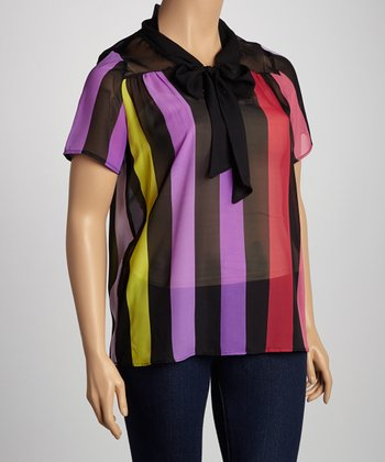 Fuchsia & Purple Stripe Tie-Neck Short-Sleeve Top - Plus