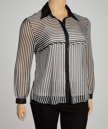 Black Pinstripe Sheer Button-Up - Plus