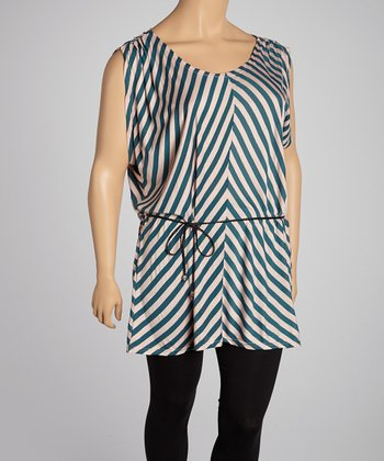 Pink & Grey Chevron Cape-Sleeve Tunic - Plus