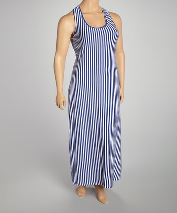 Blue Stripe Back-Knot Maxi Dress - Plus