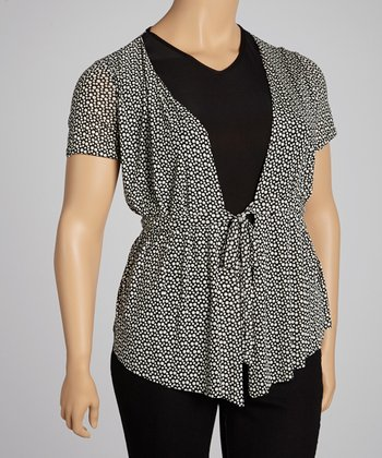 Black Dot Layered Top - Plus