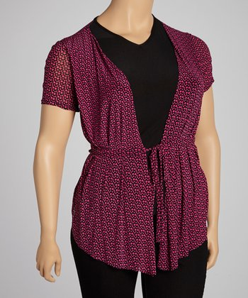 Magenta Dot Layered Top - Plus