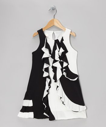 Black & White Zebra Dress - Girls