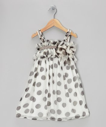 Mocha Polka Dot Dress - Girls
