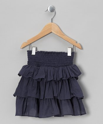 Blue-Gray Tiered Ruffle Skirt - Toddler & Girls