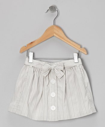 Silver-Gray Button Skirt - Toddler & Girls