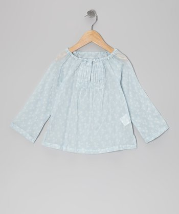 Light Blue Pleated Top - Infant, Toddler & Girls