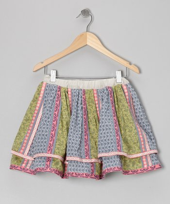 Pink & Green Vietnam Skirt - Toddler & Girls