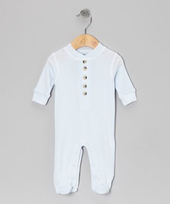 Light Blue Stripe Footie - Infant