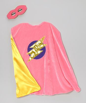 Pink & Yellow Reversible Cape & Mask - Kids