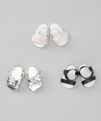 Silver, Black & White Doll Sandal Set