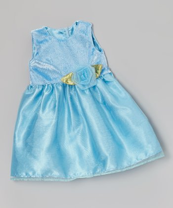 Light Blue Rose Doll Dress