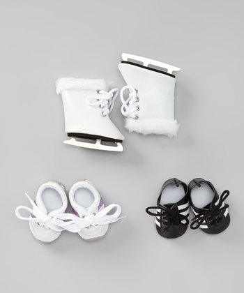 Black & White Doll Ice Skate Set
