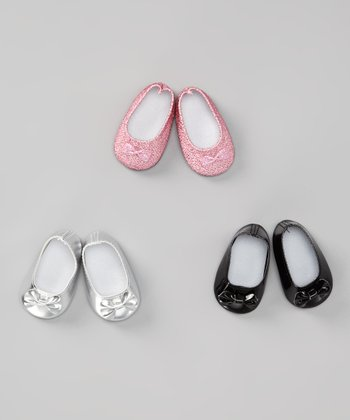 Silver, Black & Pink Doll Ballet Flat Set