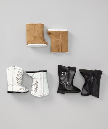 Black, White & Tan Doll Boot Set