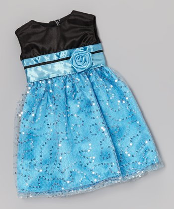 Black & Blue Long Doll Dress