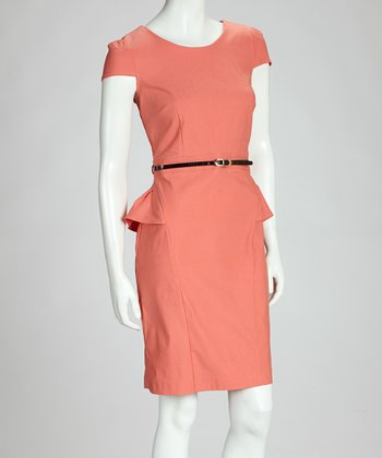 Coral Peplum Dress