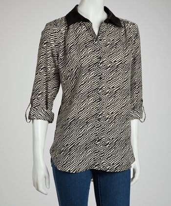 Ivory & Black Button-Up