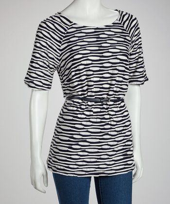 Navy & White Belted Top