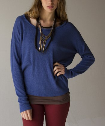 French Blue Long-Sleeve Dolman Top
