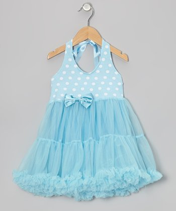 Light Blue Polka Dot Tie Halter Tutu Dress - Toddler & Girls