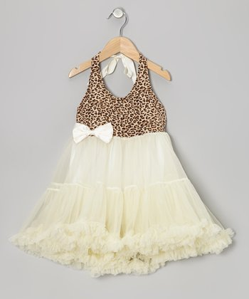 Ivory Leopard Tie Halter Tutu Dress - Toddler & Girls