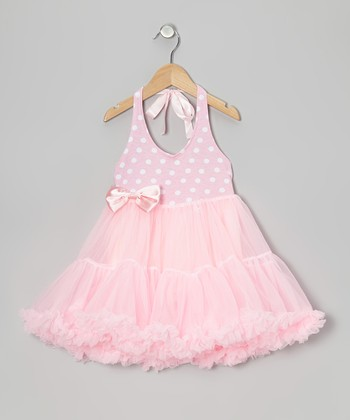 Light Pink Polka Dot Tie Halter Tutu Dress - Toddler & Girls