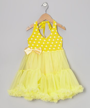 Yellow Polka Dot Tie Halter Tutu Dress - Toddler & Girls