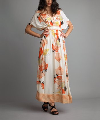 Orange Butterfly Cape-Sleeve V-Neck Dress