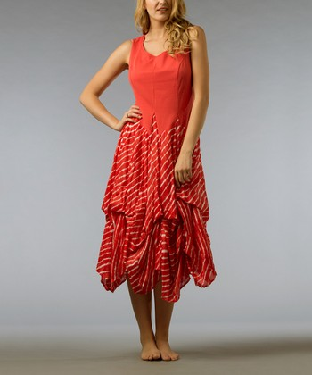 Tropical Coral Ruffle Sleeveless Dress