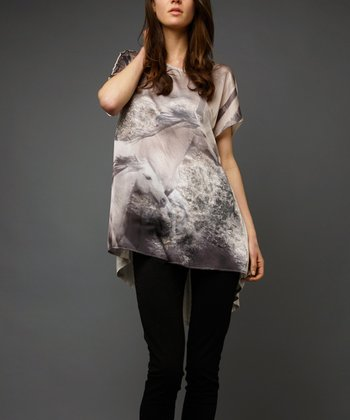 Beige & Gray Horses Hi-Low Tunic
