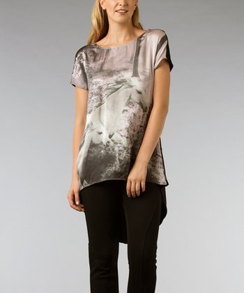 Black & Gray Horses Hi-Low Tunic - Women