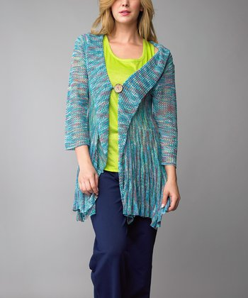 Blue Three-Quarter Sleeve Cardigan - Women