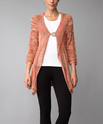 Coral Three-Quarter Sleeve Cardigan