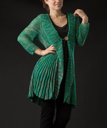 Emerald Three-Quarter Sleeve Cardigan